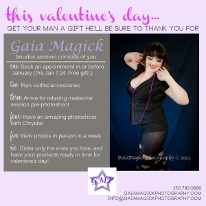 Gaia Magick Photography, Comox Valley, Boudoir portraits, Valentine gift packages, Chrystal Rossler, Valentine's Gifts for him, feel good about yourself