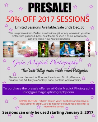 It's that time of year, it's time for 2016 session pre sales! Get your 2016 beauty experience session for half the price. These pe-sales can be used for any kind of photography experience your heart desires: Boudoir, Pin Up, creative fantasy. Your imagination is the only limit!